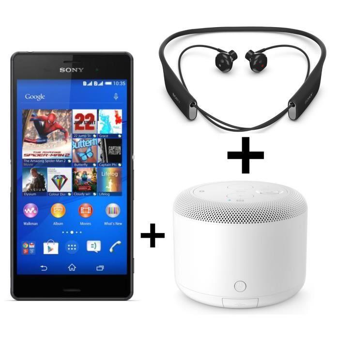 "Smartphone 5.2"" Sony Xperia Z3 Noir + Enceinte Bluetooth Sony BSP10 + Écouteurs Bluetooth Sony SBH70"