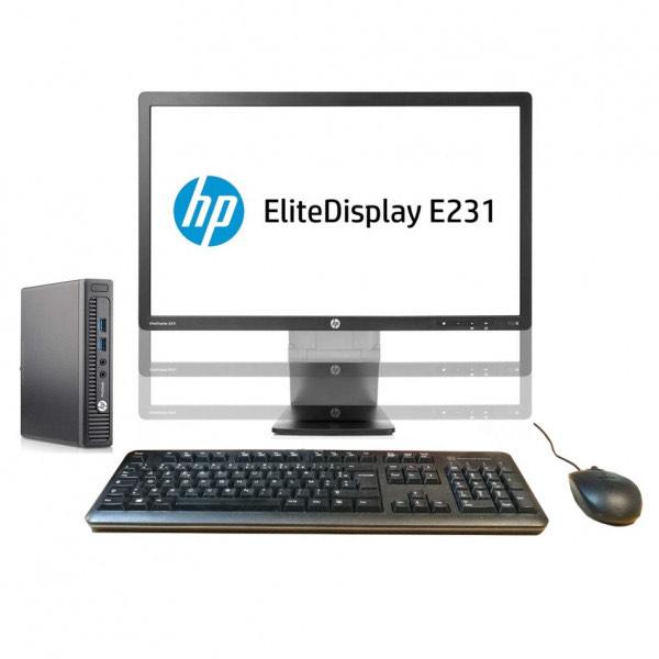 """Pack HP : Écran 23"""" E231 (FHD, TN, 60 Hz) + Mini PC ProDesk 400 G1(i3-4160T, 8 Go, 240 Go, W10) + Clavier / Souris (Recond. - Grade B)"""