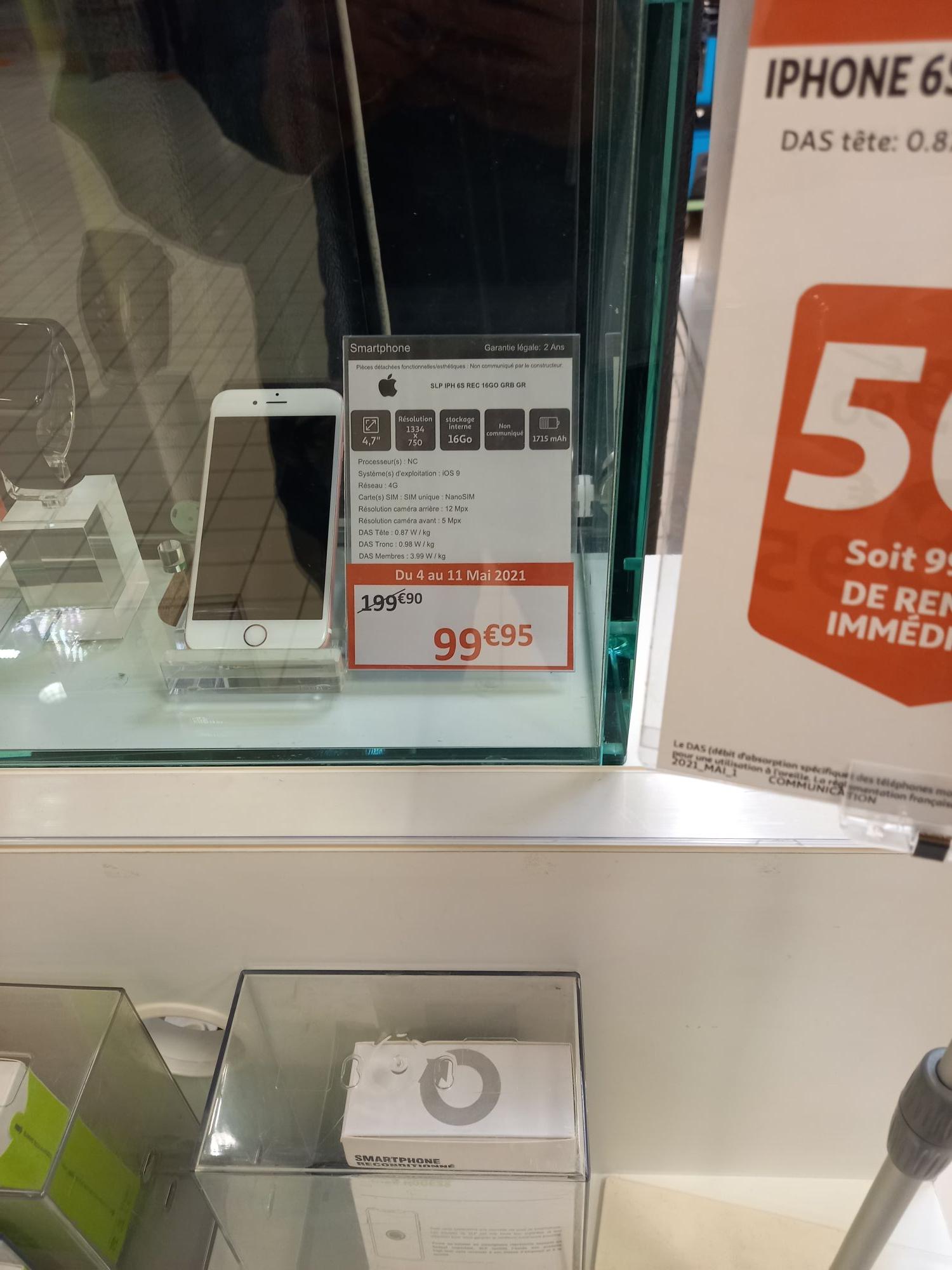 """Smartphone 4.7"""" Apple iPhone 6S - 16Go (Reconditionné) - Nantes St-Sébastien (44)"""