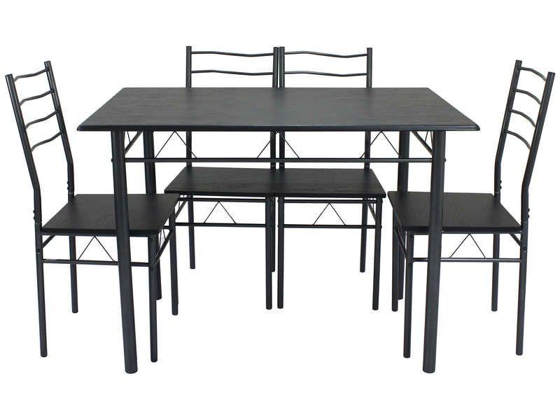 Ensemble Table Hell + 4 Chaises - Noir