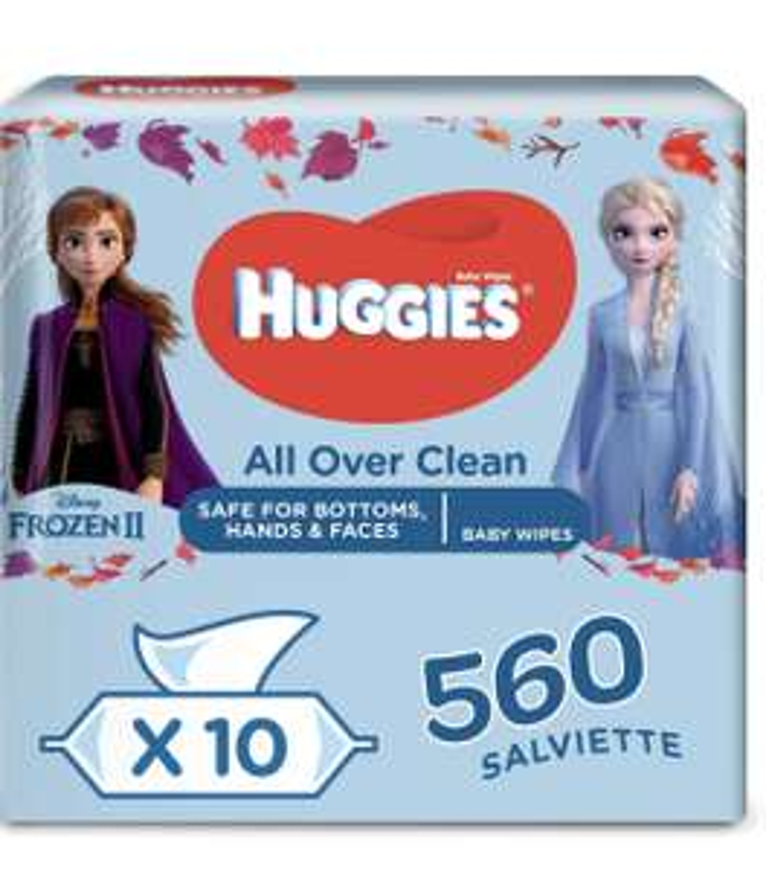 Pack de 10 paquets de 56 Lingettes bébé Huggies All Over Clean (560 lingettes)
