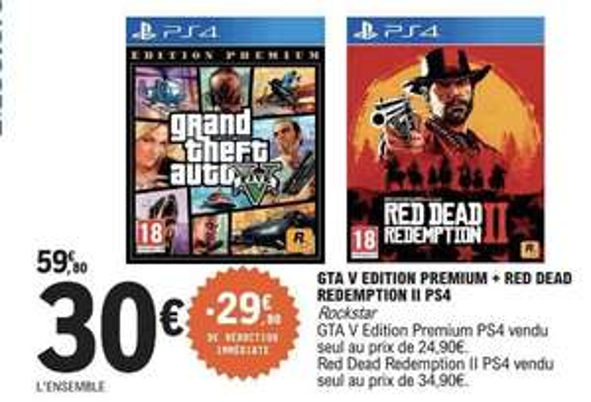 Grand Theft Auto 5 (GTA V) Edition Premium + Red Dead Redemption II sur PS4