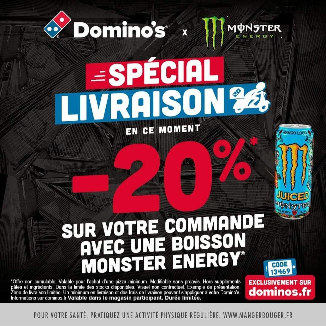 20% de réduction sur une commande Pizza + Boisson Monster Energy - Toulouse Bonnefoy (31)