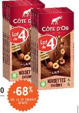 2 Lots de 4 Tablettes de chocolat Côte d'Or (Diverses variétés, 8x 180g)