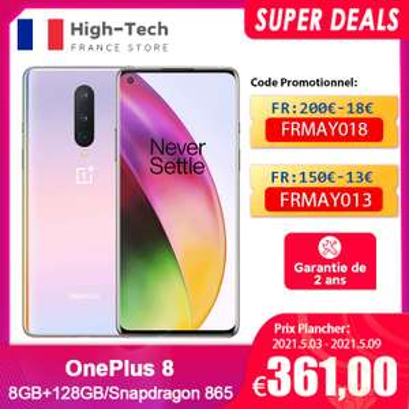 "Smartphone 6.55"" OnePlus 8 5G - full HD+ 90 Hz, SnapDragon 865, 8 Go de RAM, 128 Go (364€ avec FRMAY018)"