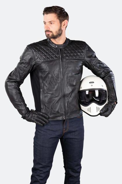 Blouson Moto en cuir Boomer - Noir ou Marron, Du M au 2XL