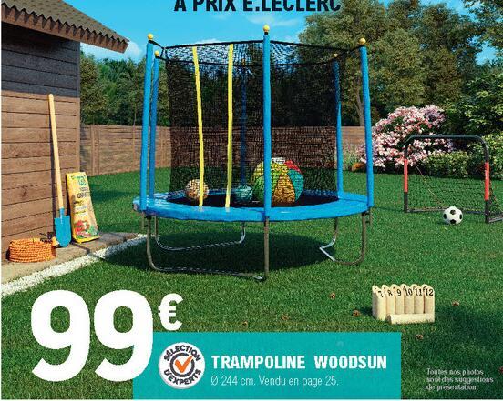 Trampoline WoodSun avec filet de sécurité - Ø 244cm