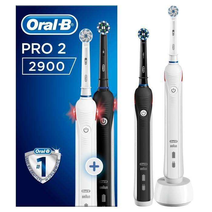 Lot de 2 Brosses à dents électriques Braun Oral-B Pro 2 2900