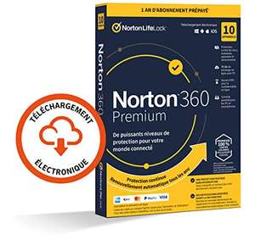 Logiciel antivirus Norton 360 Premium 2021 - License 1 an (10 appareil), VPN, 75 GO Stockage Cloud (Dématérialisé)