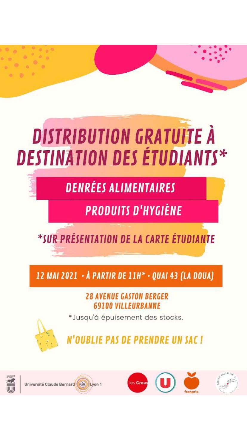 [Etudiants] Distribution gratuite de produits alimentaire et d'hygiène - Lyon (69)