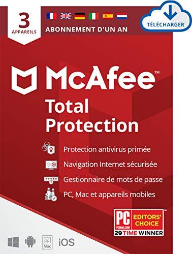 Licence Antivirus Total Protection Mcafee 2021 - 3 appareils / 1 An sur PC / Mac & Smartphones (Dématérialisée)