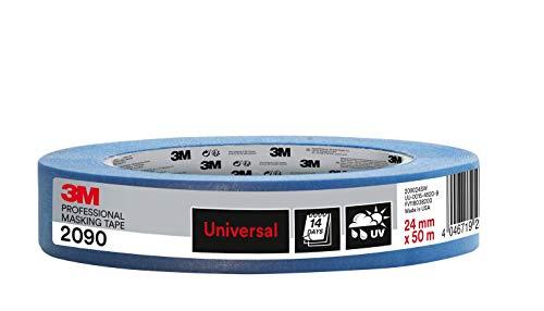 Ruban de masquage multi-surfaces 3M 2090 - Adhésivité moyenne, Résiste aux UV, 24 mm x 50 m