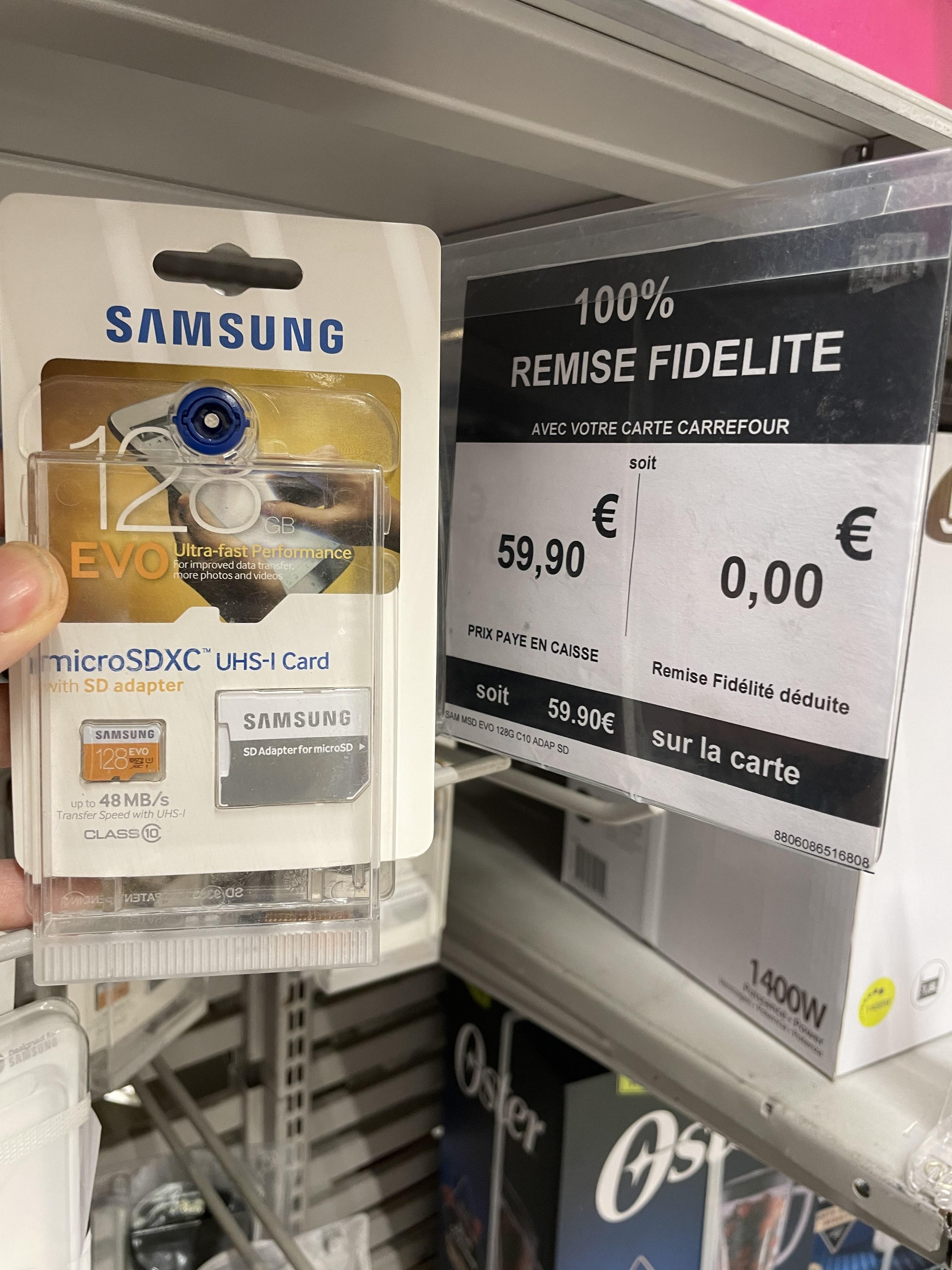 Carte Micro SDXC Samsung 128Go + adaptateur (via 59.9€ sur la carte) - Nice (06)