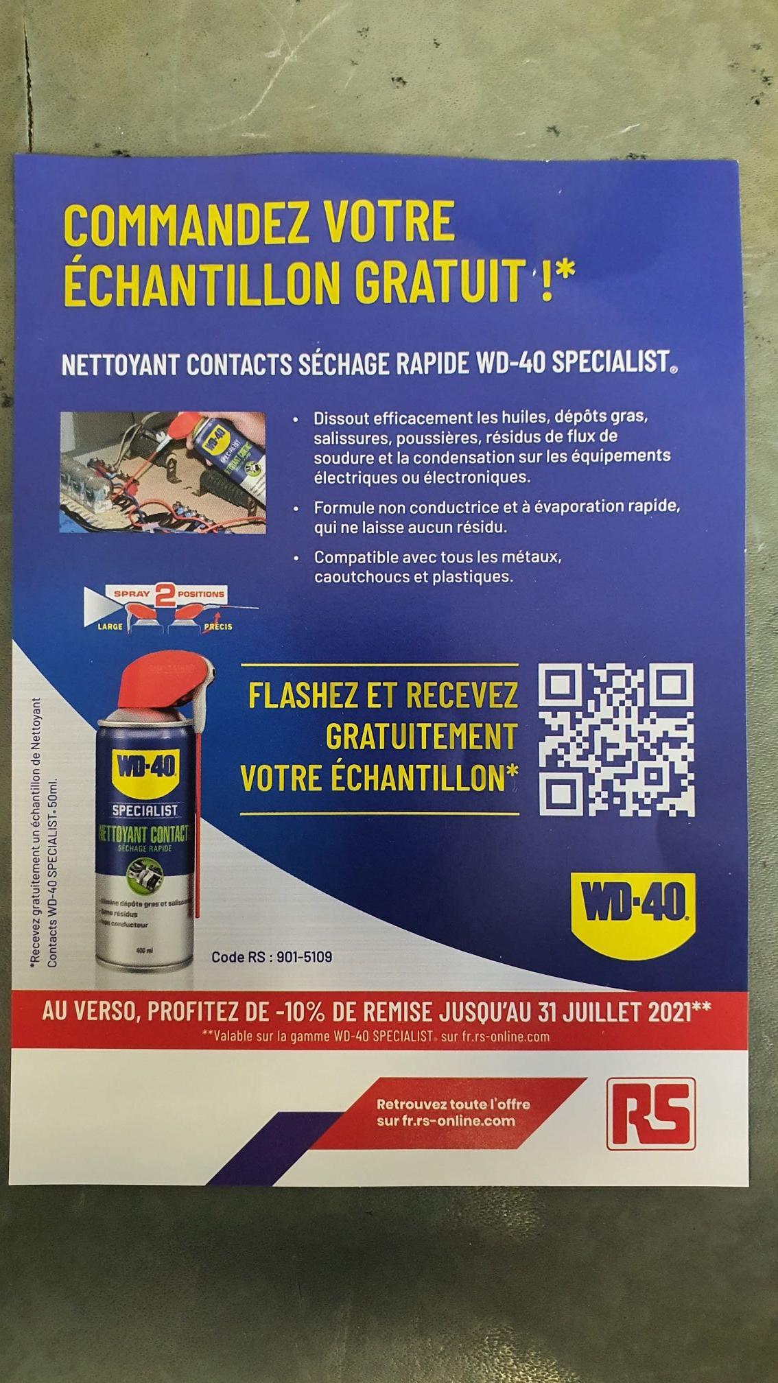 Echantillon Nettoyant contacts WD-40 Specialist 50ml Gratuit (wd40.fr)