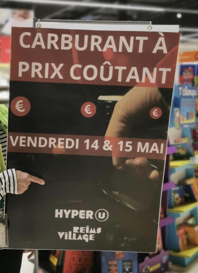 Carburant à prix coûtant - Hyper U Reims village (51)