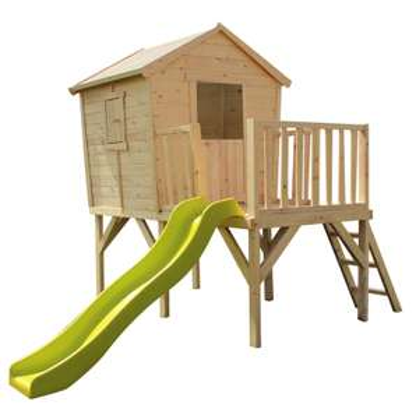 Maison de jardin surélevée avec toboggan - 308x229x235 cm en pin naturel (maisonetstyles.com)
