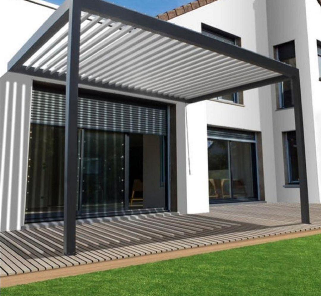 Pergola adossée Caleta - aluminium gris anthracite, 12 m² (Livraison incluse)