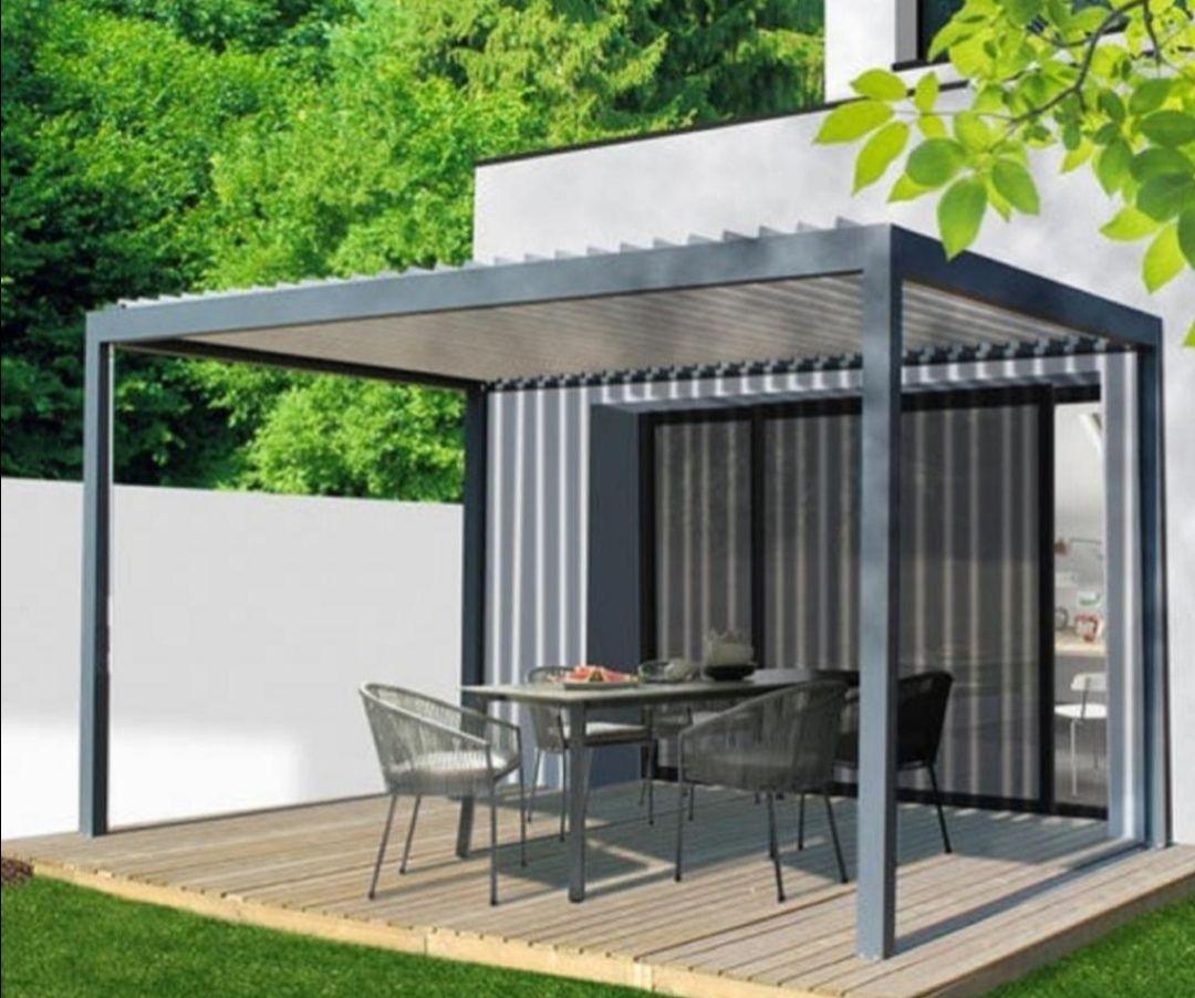 Pergola autoportante Caleta - aluminium gris anthracite, 12 m²