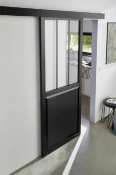 Porte coulissante vitrée esprit atelier noire H.204 x l.83 cm + système en applique