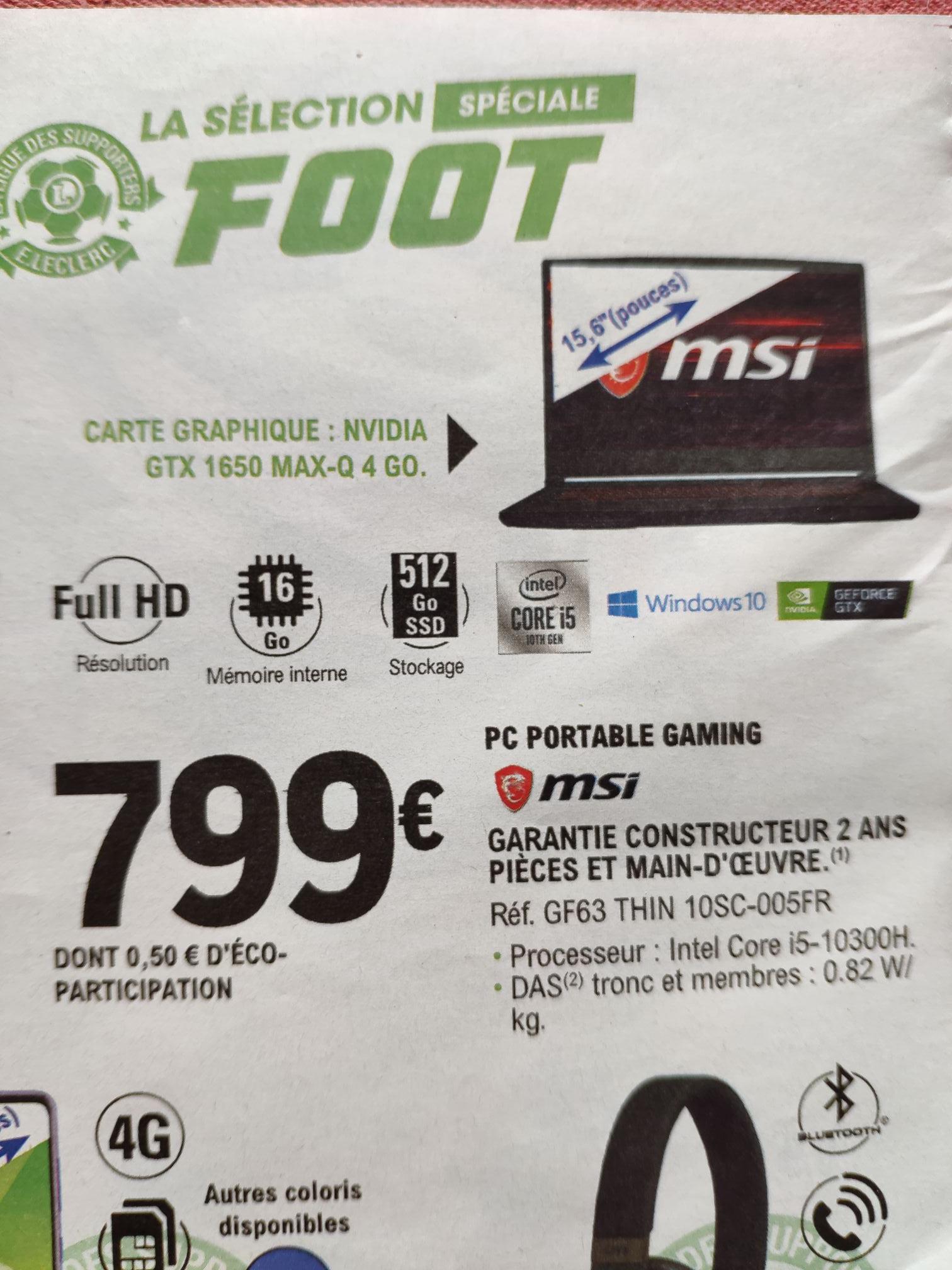 """PC portable 15.6"""" MSI GF63 Thin 10SC-005FR - FHD, i5-10300H, 16 Go de RAM, 512 Go en SSD, GTX 1650 MAX-Q 4 Go, Windows 10"""