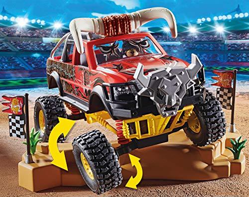 Jouet Playmobil Stuntshow - 4x4 Taureau avec 1 Personnage Cascadeur, Accessoires Inclus