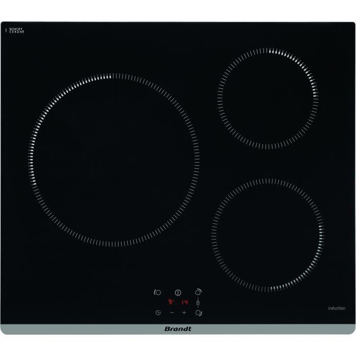 Plaque à induction Brandt TI364B - 3 zones, 7200 W
