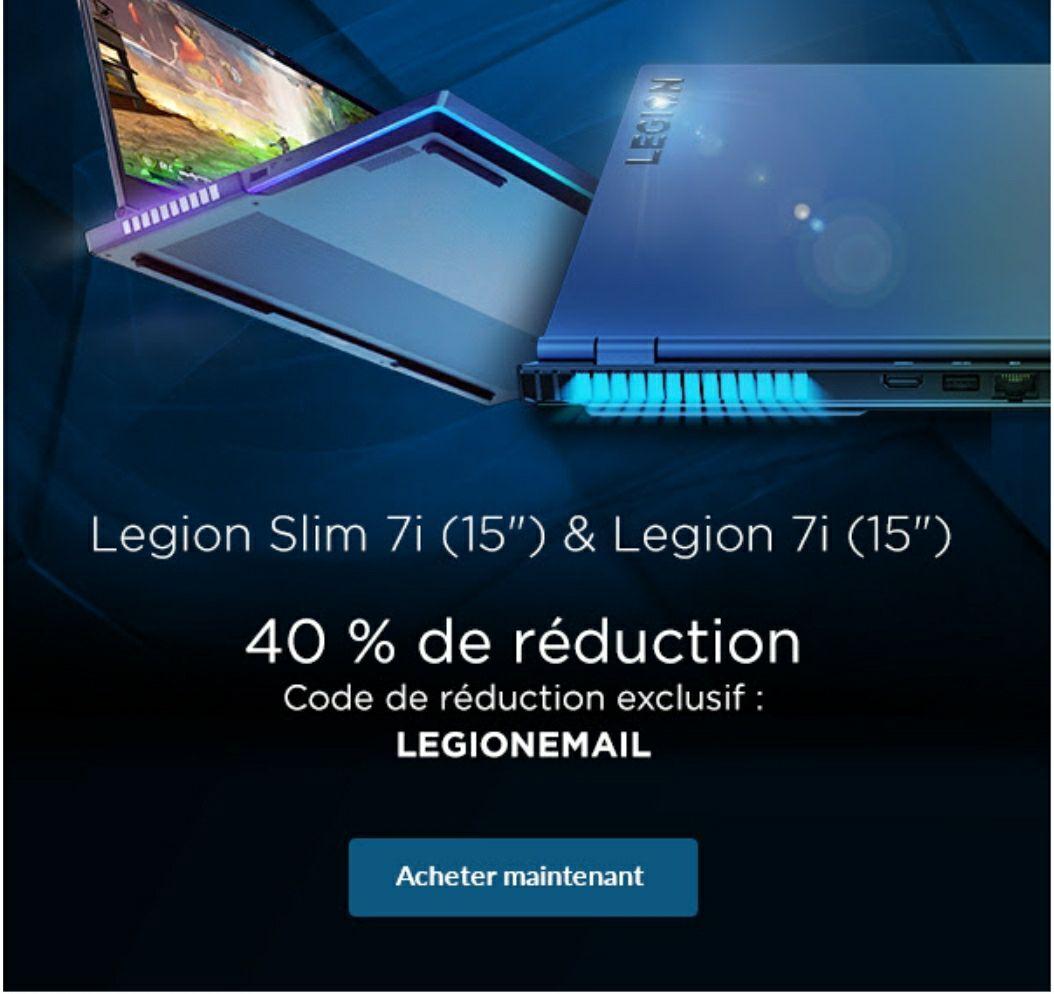 """40% de réduction immédiate sur les PC Portables Gamer 15.6"""" Legion Slim 7i & Legion 7i"""