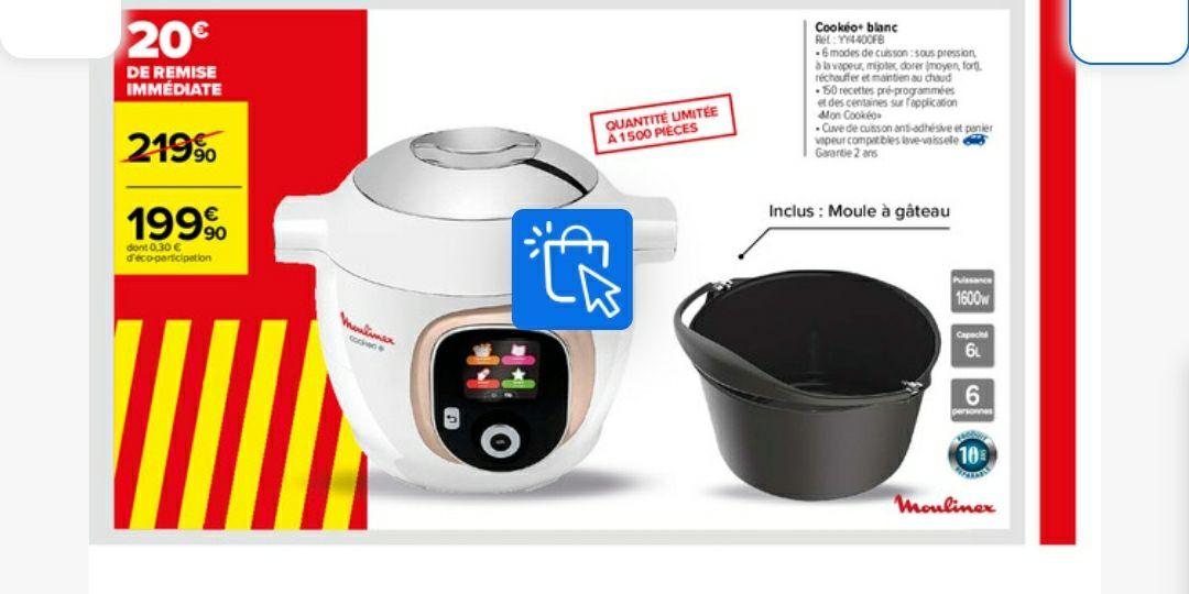 Multicuiseur intelligent Moulinex Cookeo+ YY4400FB avec 150 recettes et Moule à gâteau