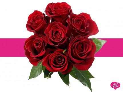 Bouquet de 7 roses - Tiges 60cm, différents coloris