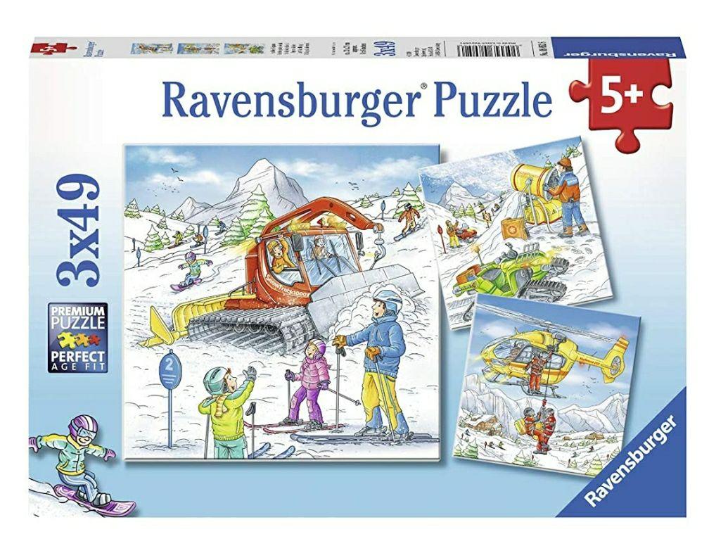 Puzzle sur la Piste de Ski Ravensburger - 3 x 49 pièces