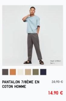 Sélection d'articles en promotion (via l'application) - Ex : Pantalon 7/8 en coton pour Homme