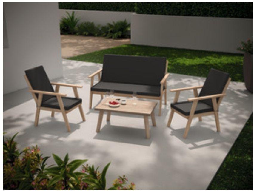 Salon de jardin Coffee set bois Alana - GoodHome