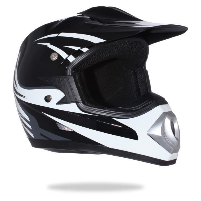 Casque Moto Cross Adulte - Noir et Blanc