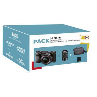 Pack Fnac Hybride Sony Alpha A6000 + Objectifs 16-50 mm + 55-210 mm + Carte SD 16 Go + Fourre-tout + 59.99€ cagnotté pour les Adhérents