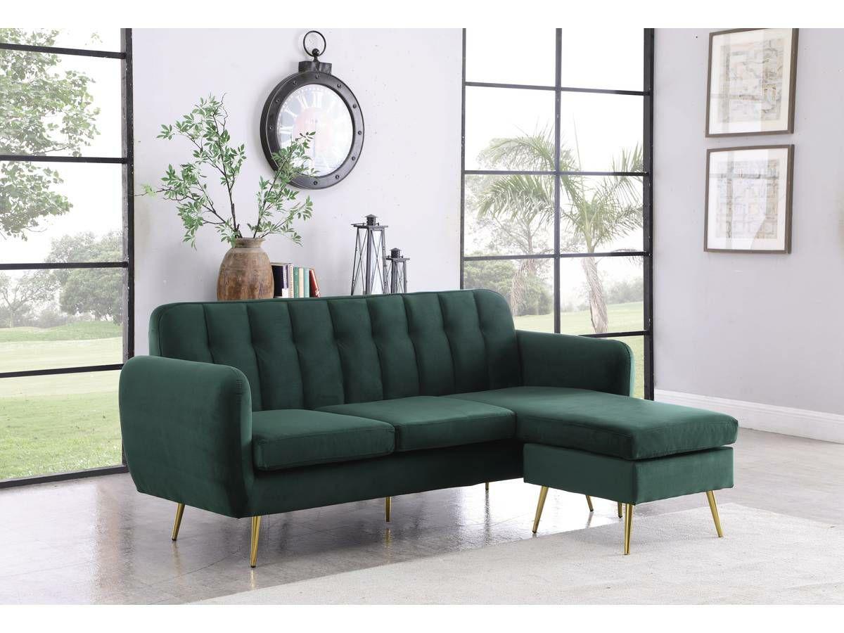 """Canapé d'angle réversible en velours """"Leonard"""" - 202 x 80/138 x 92 cm - Vert foncé"""