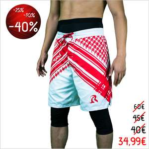Short sport de combat Awrafight - Edition Keffieh Rouge / Blanc