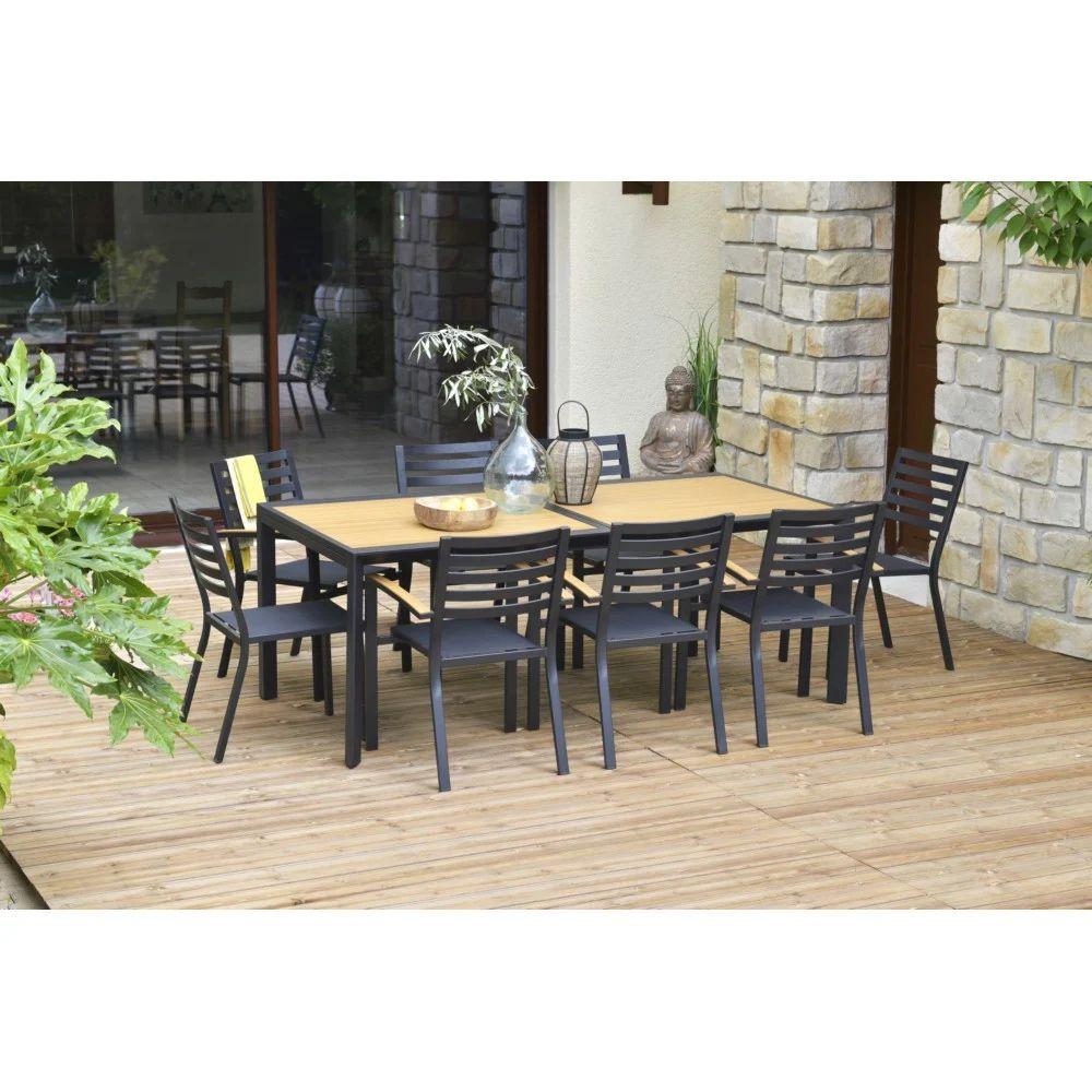 Table de jardin rectangulaire Belize Extensible en Aluminium - L.200/300 x l.100 x h.75cm