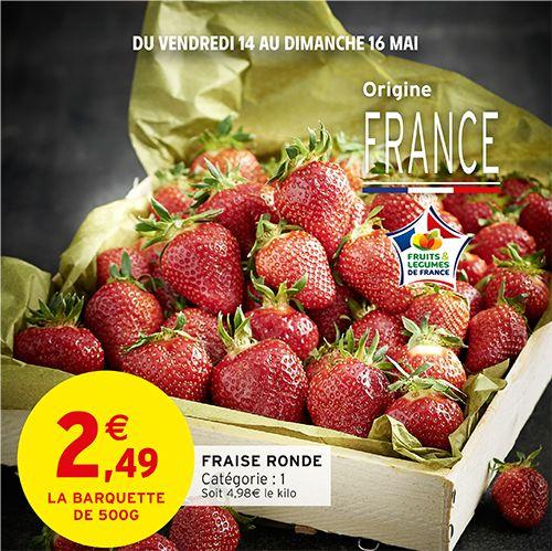 Barquette de 500g de fraises rondes catégorie 1 Origine France (500g)