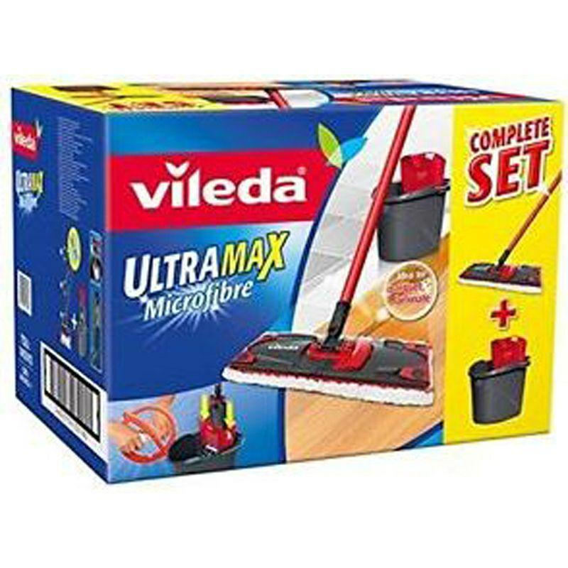 Kit complet Seau Vileda UltraMax + Essoreur + Balai à plat microfibre