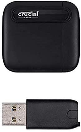 SSD externe USB-C 3.1 Gen 2 Crucial X6 (1 To) + Adaptateur USB-C vers USB-A