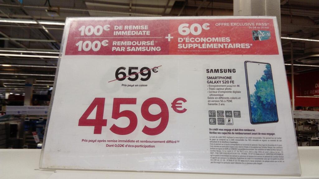 "[Carte Pass] Smartphone 6.5"" Samsung Galaxy S20 FE 4G - 128 GO - Nouveau SoC SnapDragon (via ODR de 100€ + 60€ sur la carte) - Evry (91)"