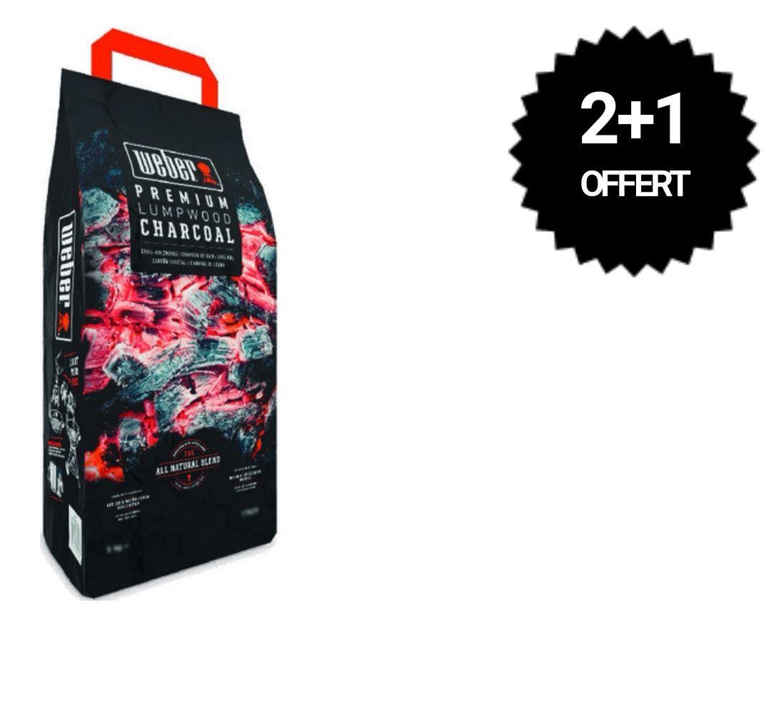 Lot de 3 sacs de 5 kg de charbon de bois Weber (3x5kg)