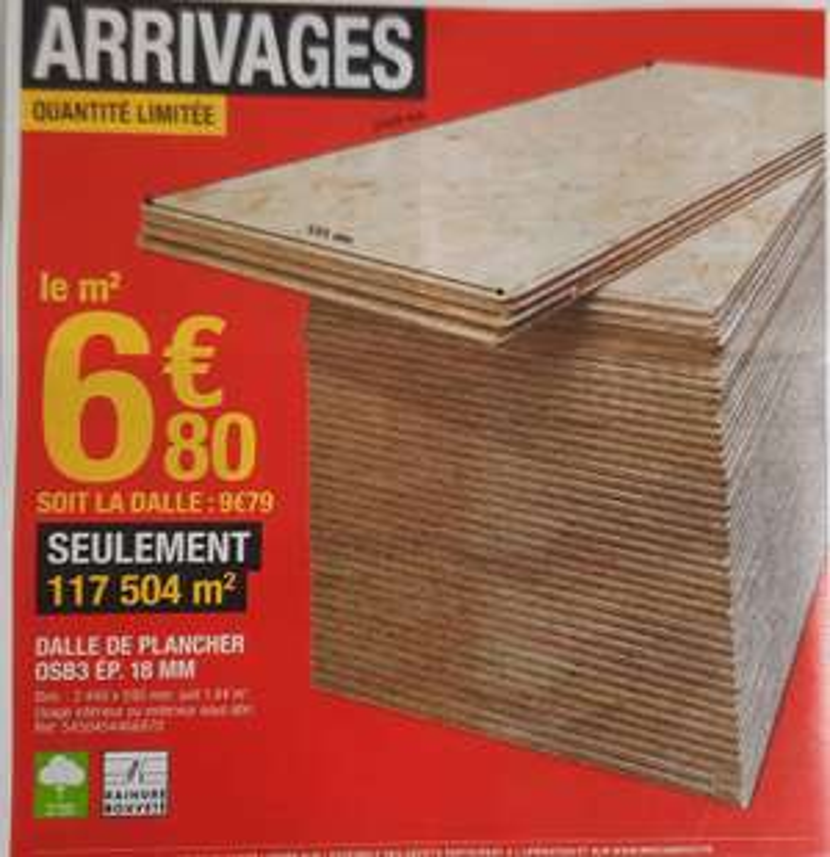 Dalle de plancher osb 3 - Ep.18 mm, L.244 x l.59 cm