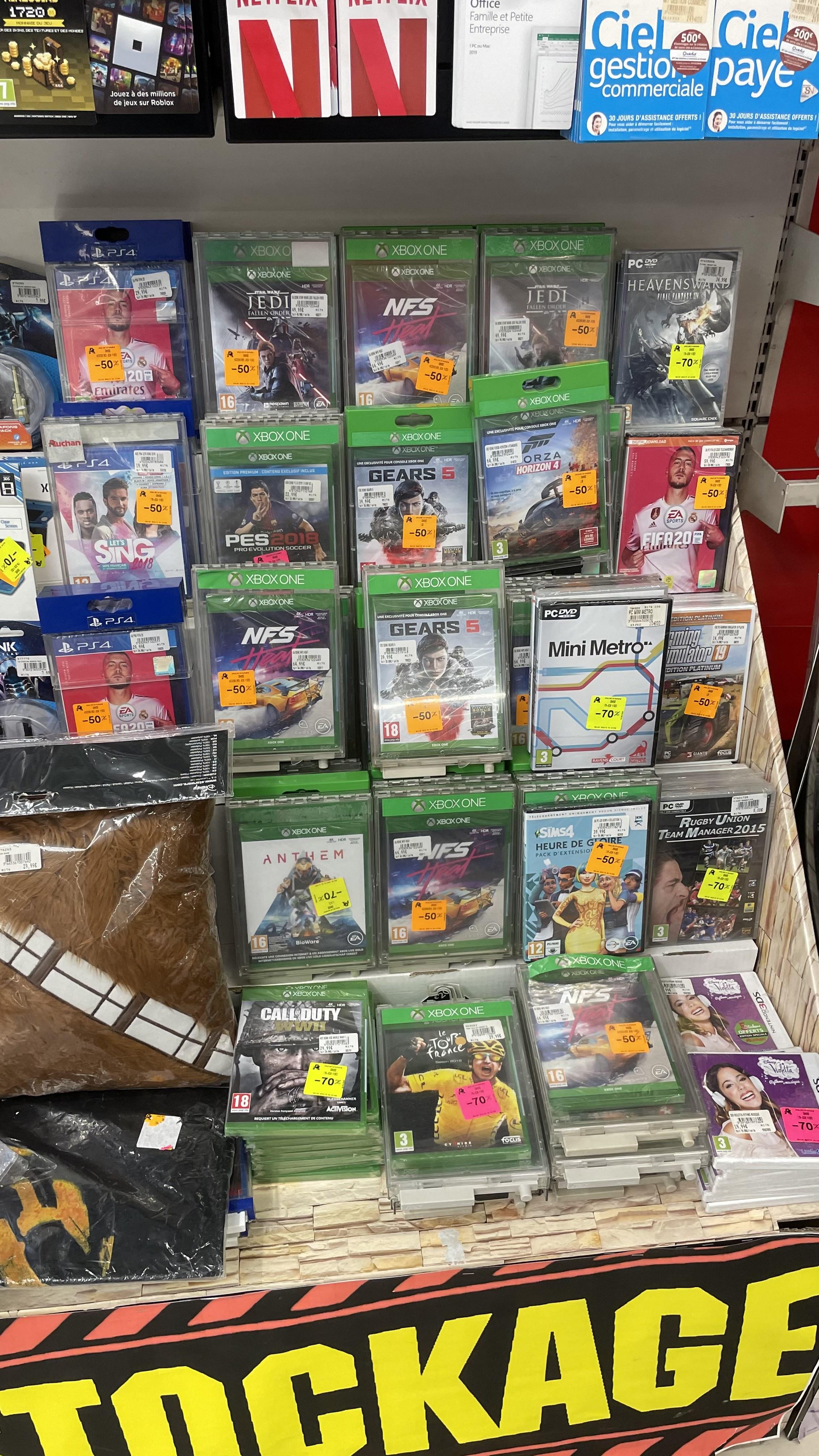 Sélection de Jeux Xbox, PC ou PS4 en promotion - Ex : Jedi Fallen Order sur Xbox One - Auchan de Grasse (06)