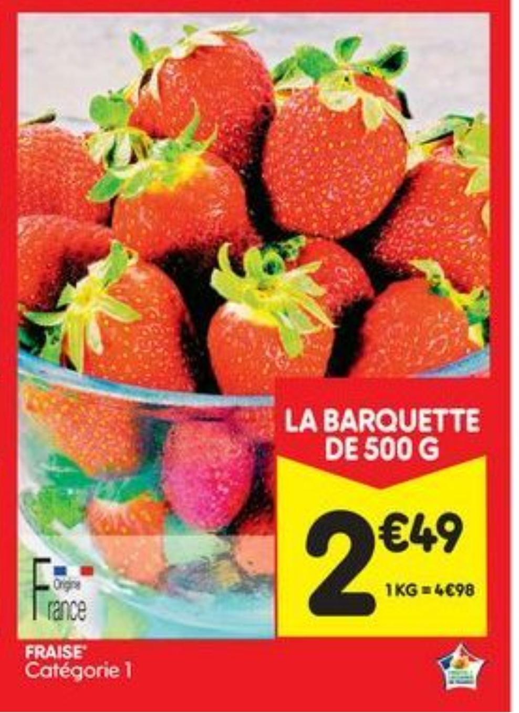 Sélection de fruits en promotion - Ex : Barquette de Fraises - 500g, Origine France