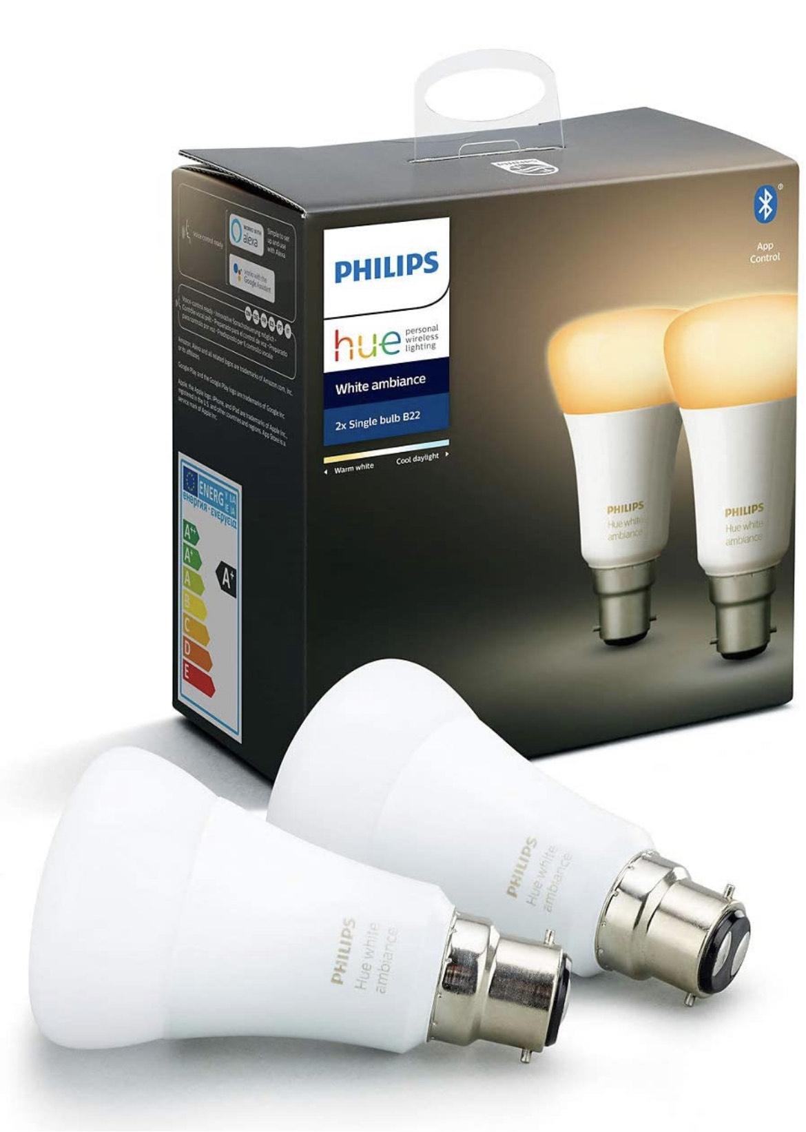 Pack de 2 ampoules connectées Philips Hue 2 white ambiance - B22