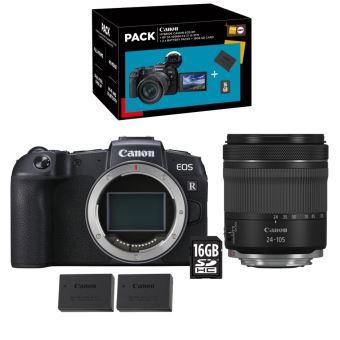 Appareil photo hybride Canon EOS RP + RF 24-105 mm f/4-7.1 IS STM + 2nde Batterie LP-E17 + Carte SD 16Go + 50mm f/1.8 (+134€ chèque cadeaux)
