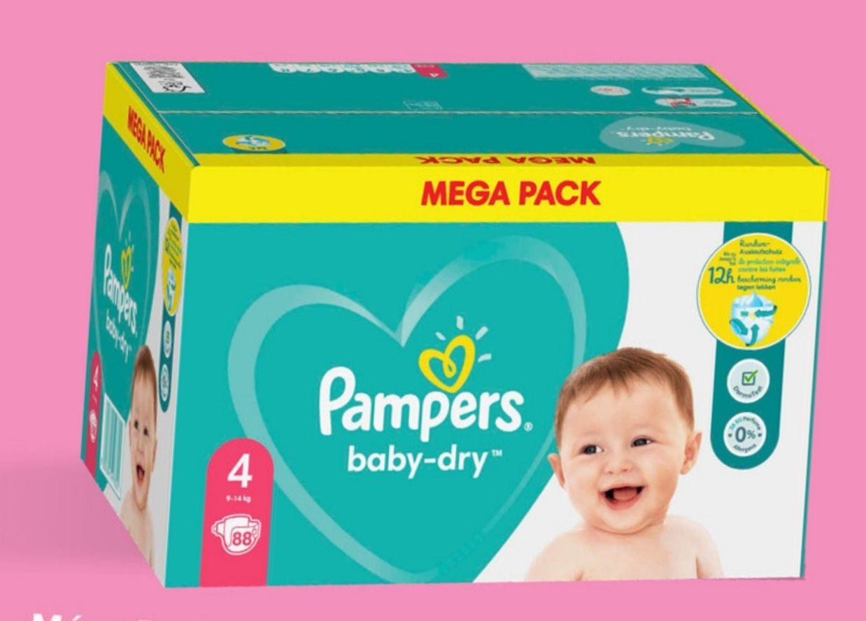 Méga pack de couches Pampers Baby Dry - différentes tailles (Via 15.94€ sur la carte fidélité + BDR de 2€)