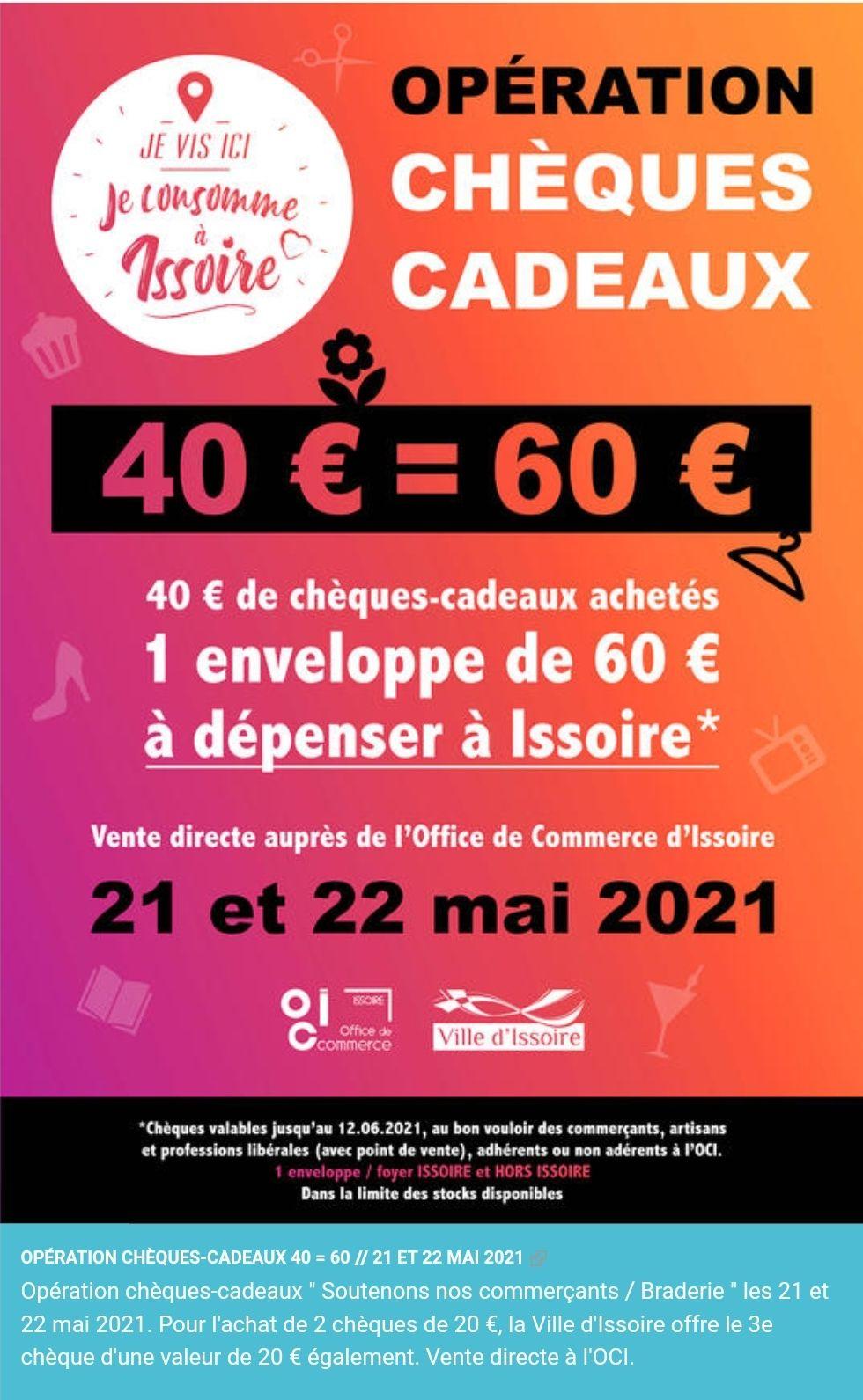 40€ de chèques cadeaux achetés = un chèque cadeau de 20€ offert - Issoire (63)