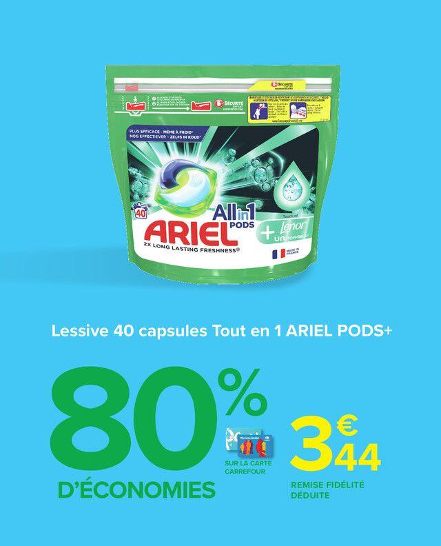 Lot de 40 Capsules de Lessive Ariel Pods+ (via 13.76€ sur la carte fidélité + BDR de 3€)